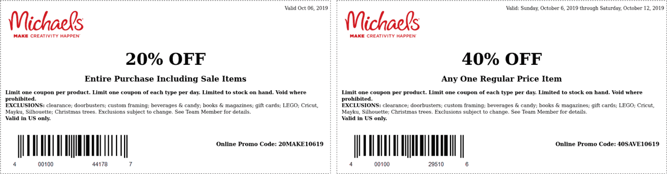 Michaels Coupon October 2019 40% off a single item at Michaels, or online via promo code 40SAVE10619