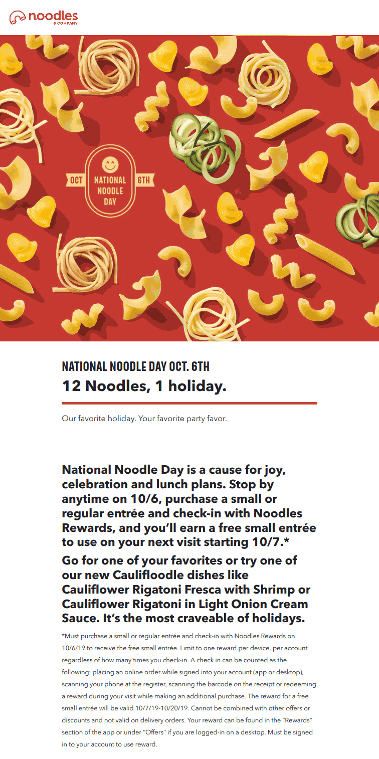 Noodles & Company Coupon October 2019 Second future entree free today at Noodles & Company