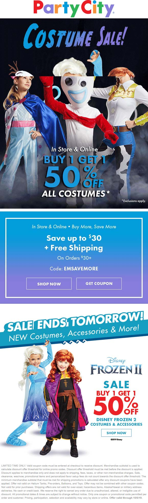 Party City Coupon January 2020 Second costume 50% off today at Party City, ditto online