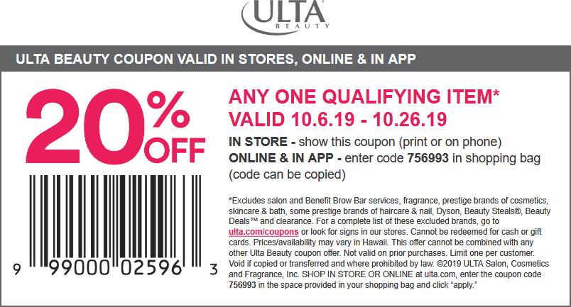 Ulta Beauty Coupon October 2019 20% off a single item at Ulta Beauty, or online via promo code 756993