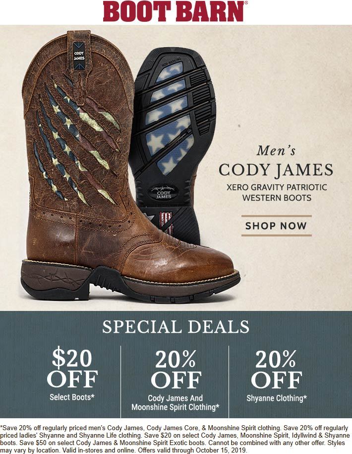 Boot Barn Coupon January 2020 20% off various Cody items at Boot Barn, ditto online