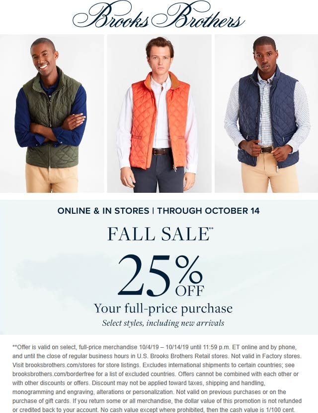 Brooks Brothers Coupon October 2019 25% off at Brooks Brothers, ditto online