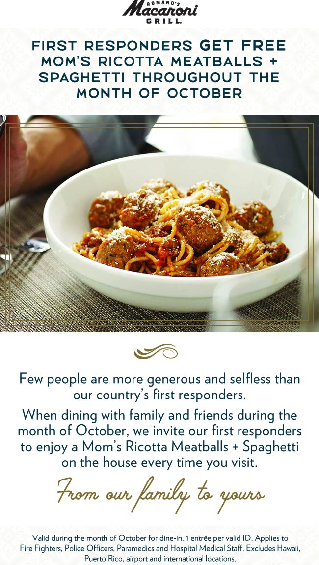Macaroni Grill Coupon November 2019 First responders eat free all month at Macaroni Grill