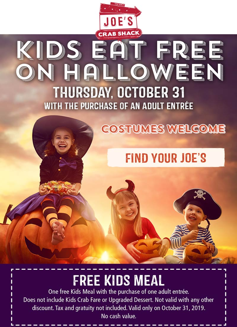 Joes Crab Shack Coupon October 2019 Kids eat free Halloween at Joes Crab Shack