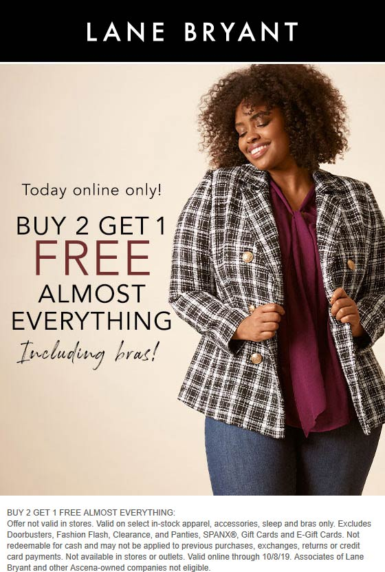 Lane Bryant Coupon October 2019 3rd item free online today at Lane Bryant