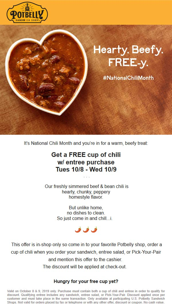 Potbelly Coupon November 2019 Free cup of chili with your entree at Potbelly sandwich shop