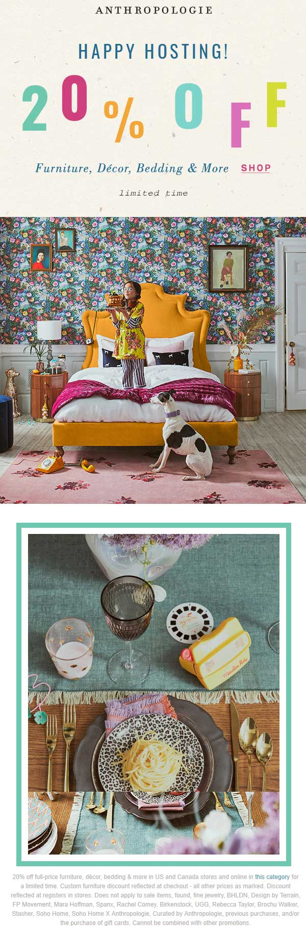 Anthropologie Coupon January 2020 20% off furniture decor & bedding at Anthropologie, ditto online