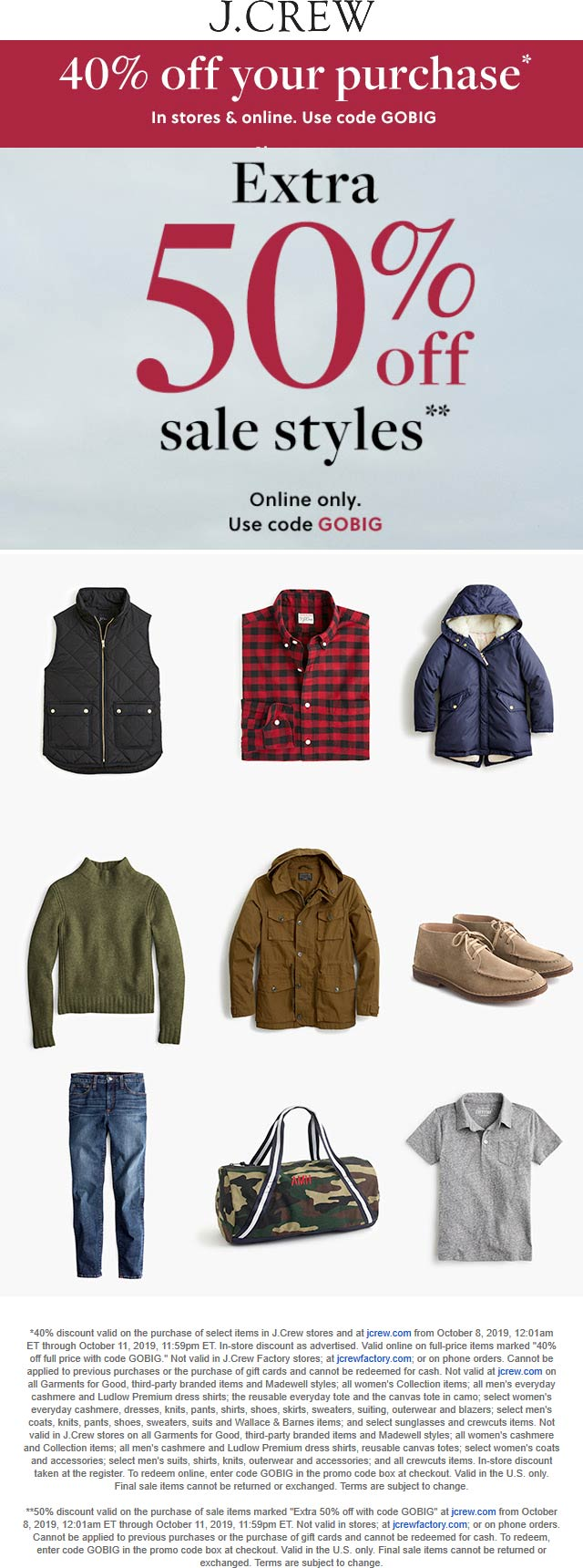 J.Crew Coupon January 2020 40% off at J.Crew, or online via promo code GOBIG