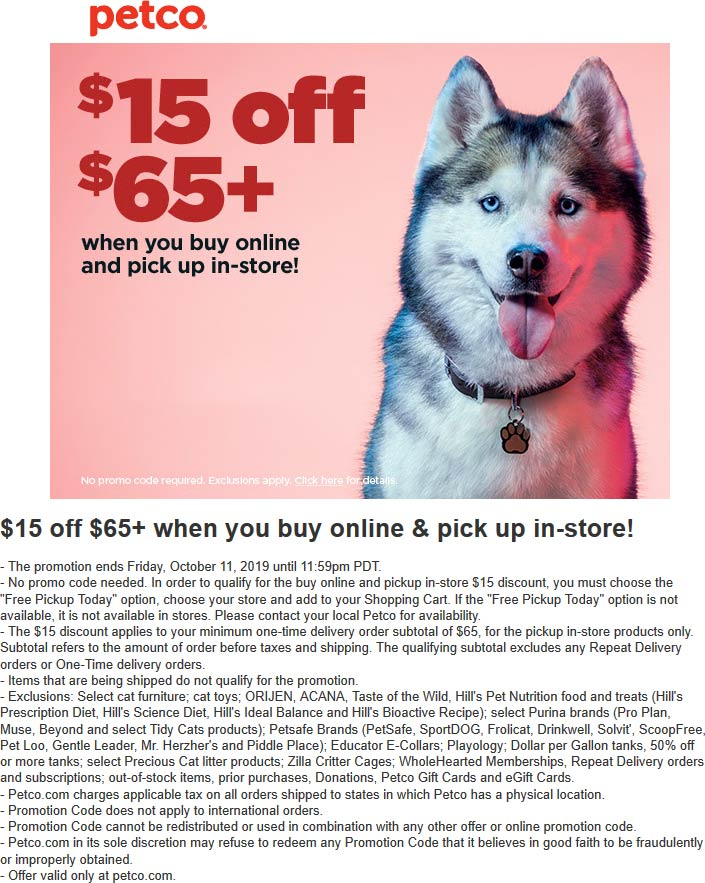 Petco Coupon October 2019 $15 off $65 online with in-store pickup at Petco
