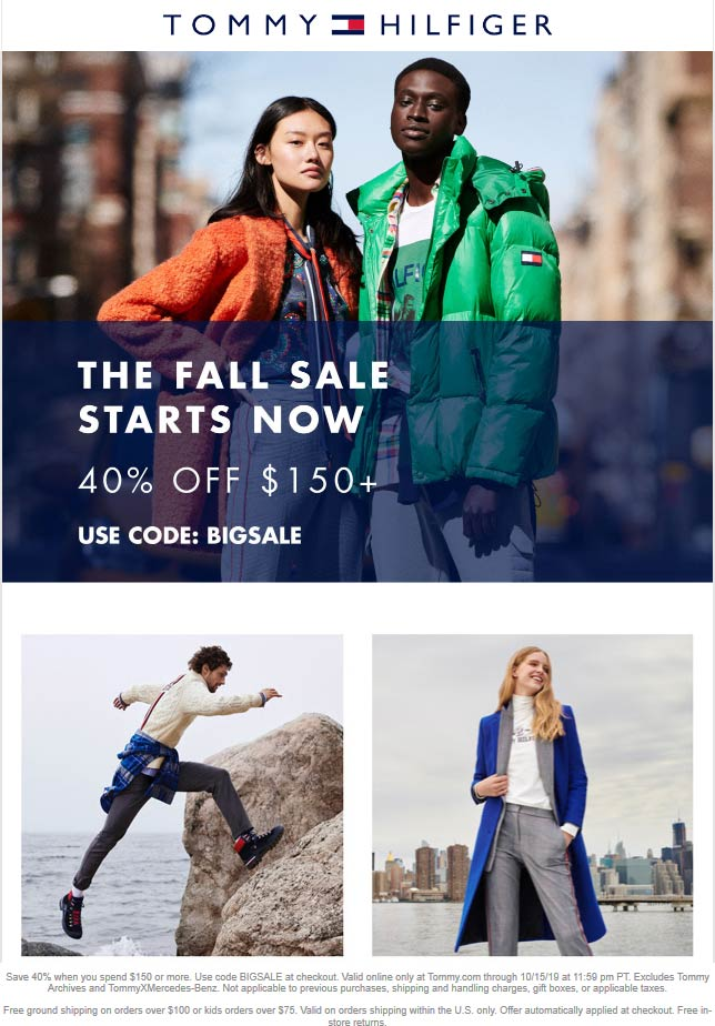 Tommy Hilfiger Coupon October 2019 40% off $150 online at Tommy Hilfiger via promo code BIGSALE
