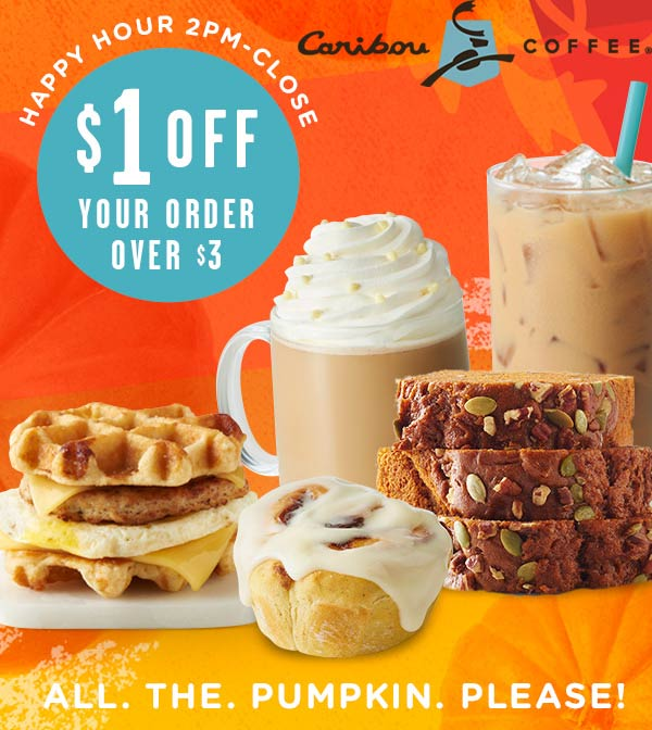 Caribou Coffee Coupon November 2019 $1 off $3 after 2p at Caribou Coffee