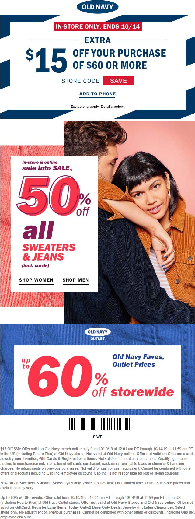Old Navy Coupon November 2019 $15 off $60 & more at Old Navy