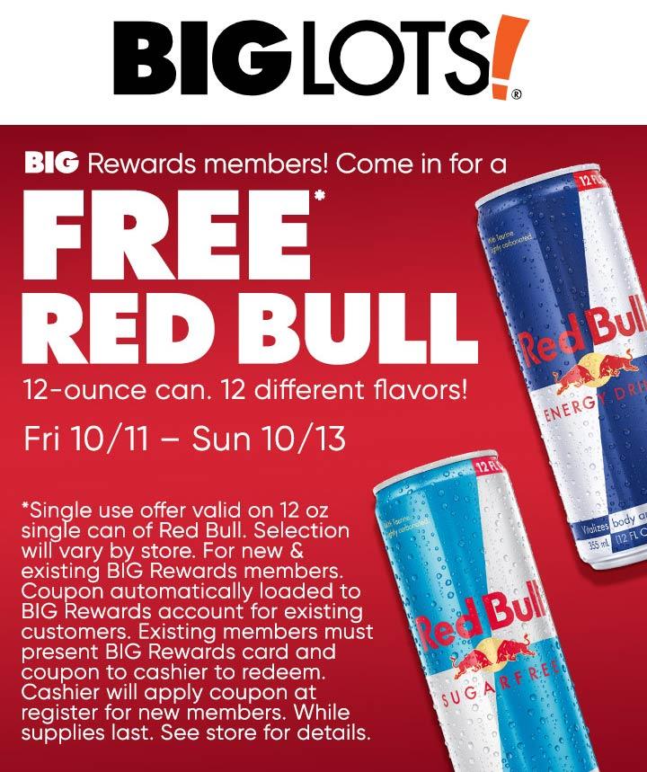 Big Lots Coupon November 2019 Free red bull with rewards card or signup at Big Lots