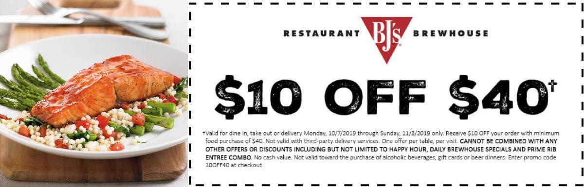 BJs Restaurant Coupon October 2019 $10 off $40 at BJs Restaurant brewhouse
