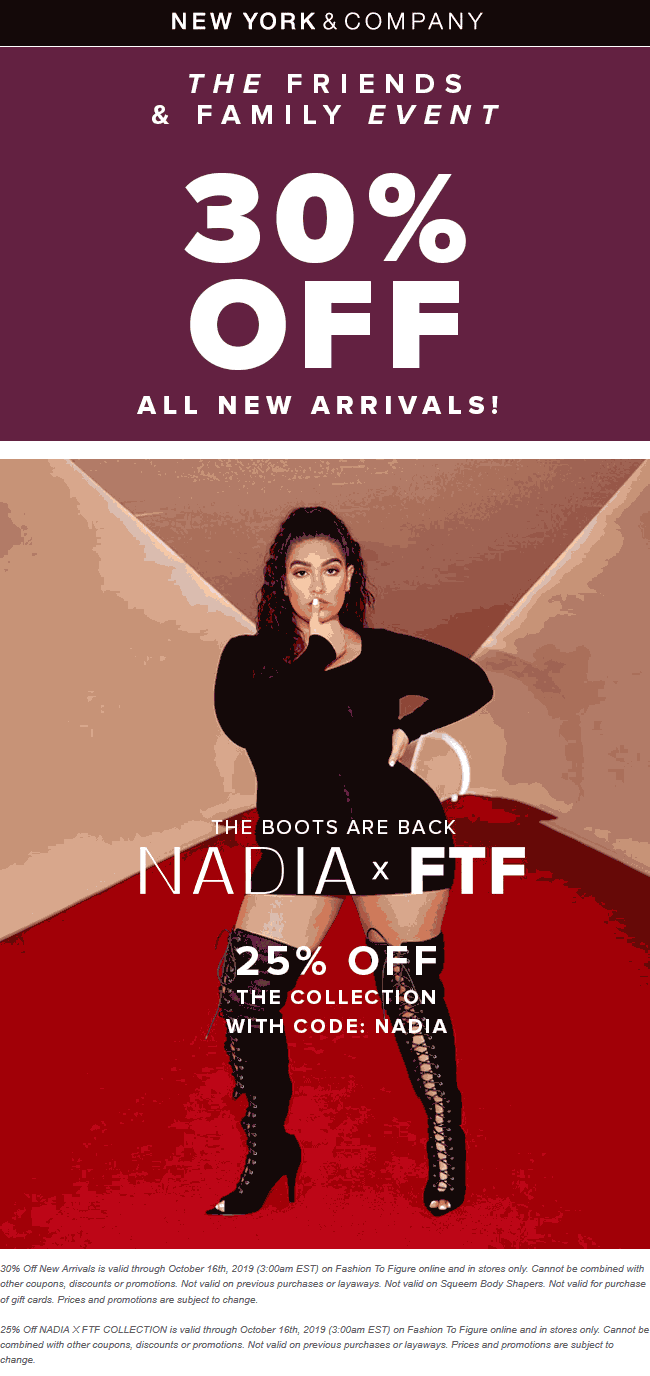 New York & Company Coupon November 2019 30% off new arrivals at New York & Company, ditto online