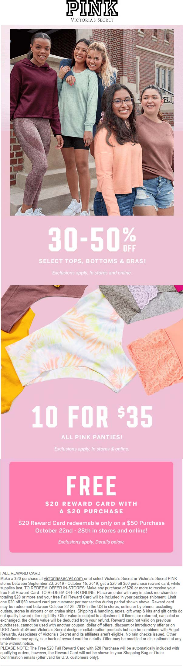 Victorias Secret Coupon October 2019 30-50% off & more at Victorias Secret PINK, ditto online