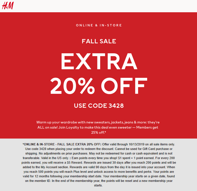 H&M Coupon October 2019 Extra 20% off sale items at H&M or online via promo code 3428