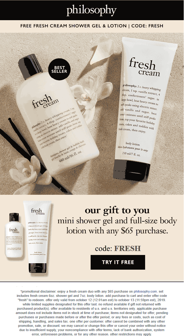 Philosophy Coupon January 2020 Free full size lotion + shower gel with $65 spent online at Philosophy via promo code FRESH