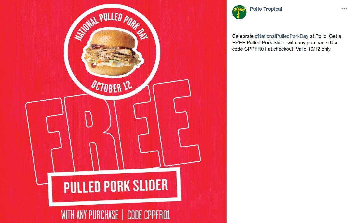 Pollo Tropical Coupon October 2019 Free pork slider today at Pollo Tropical restaurants