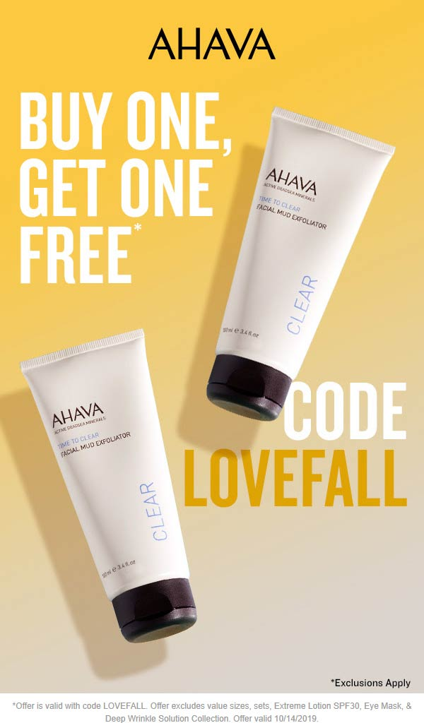 AHAVA Coupon January 2020 Second item free at AHAVA, or online via promo code LOVEFALL
