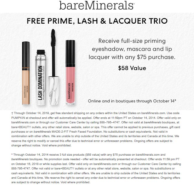 bareMinerals Coupon November 2019 Free $58 full size kit with $75 spent at bareMinerals, ditto online