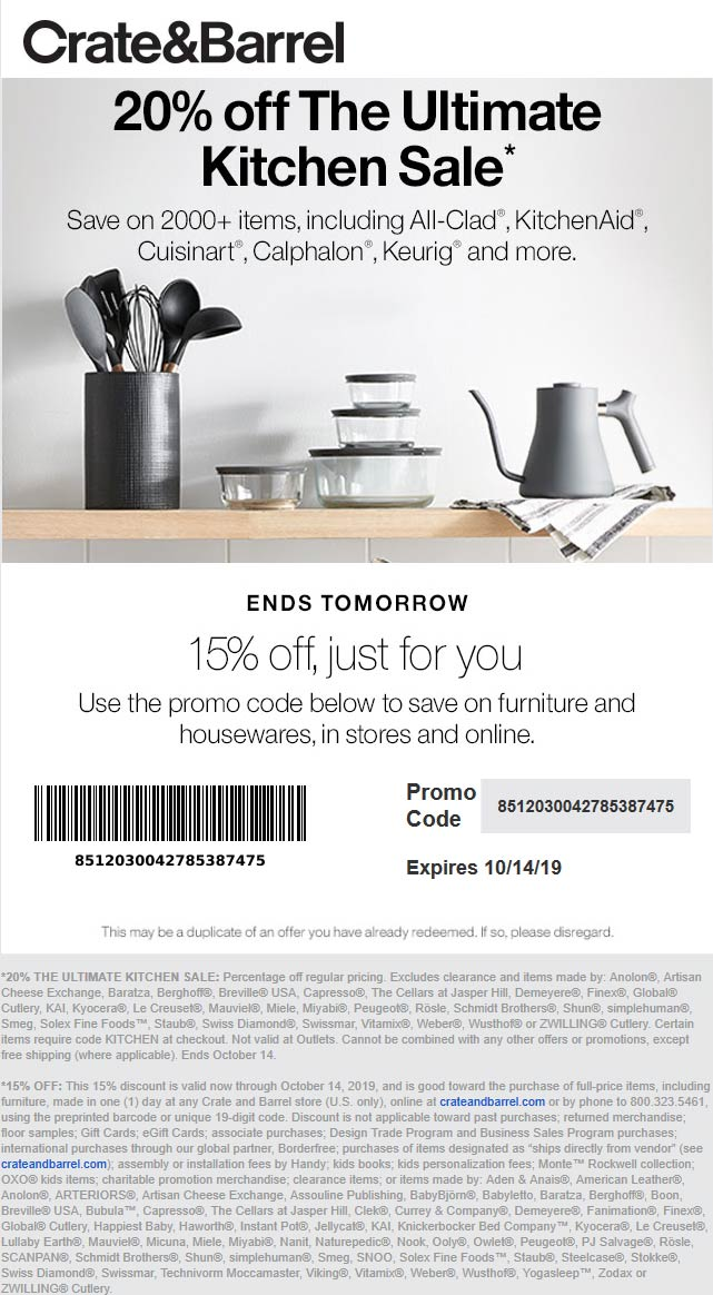 Crate & Barrel Coupon January 2020 15-20% off furniture & housewares at Crate & Barrel, or online via promo code 8512030042785387475