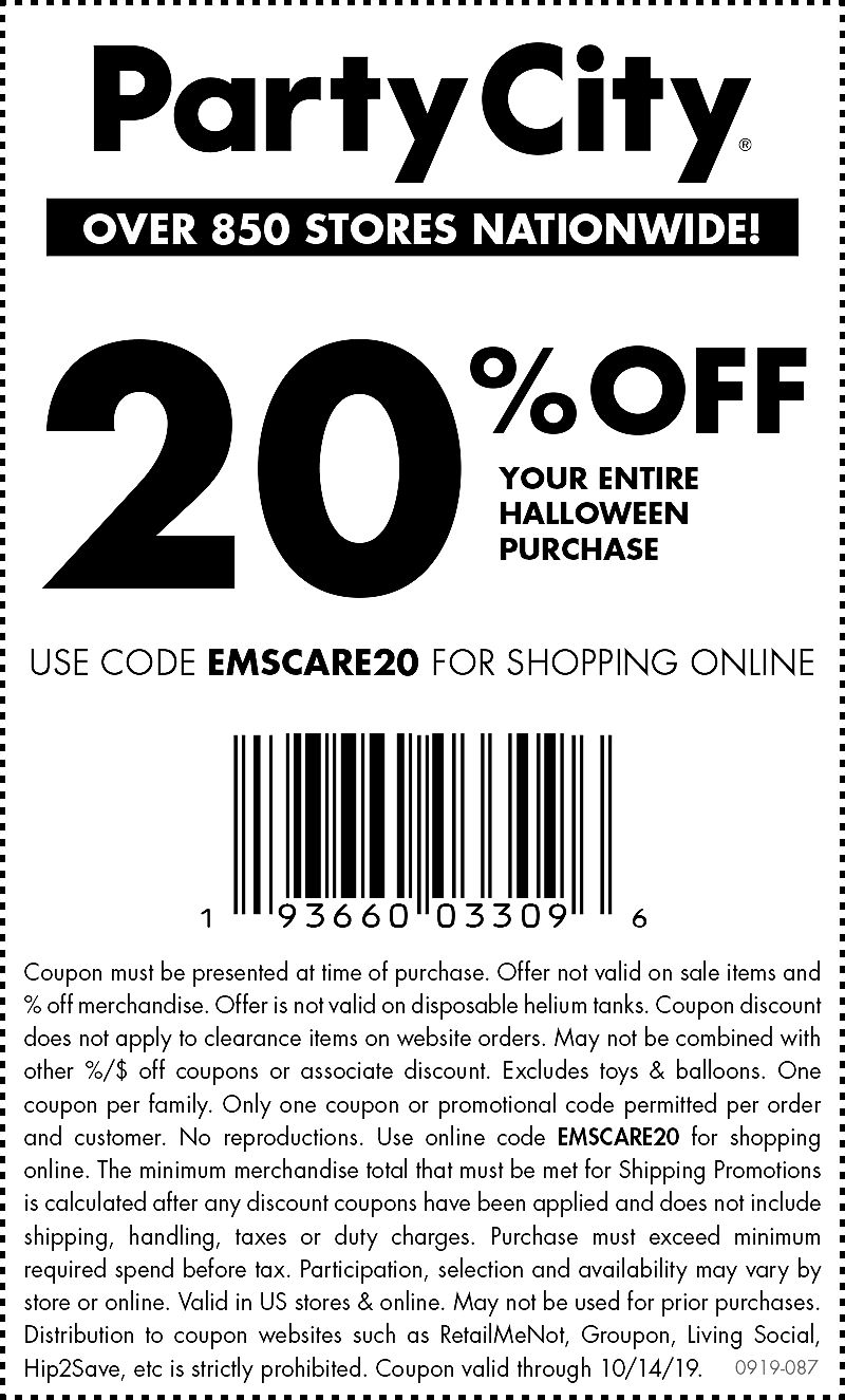 Party City Coupon November 2019 20% off Halloween at Party City, or online via promo code EMSCARE20