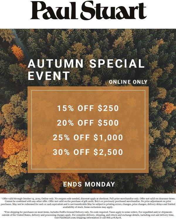 Paul Stuart Coupon November 2019 15-30% off $250+ online at Paul Stuart