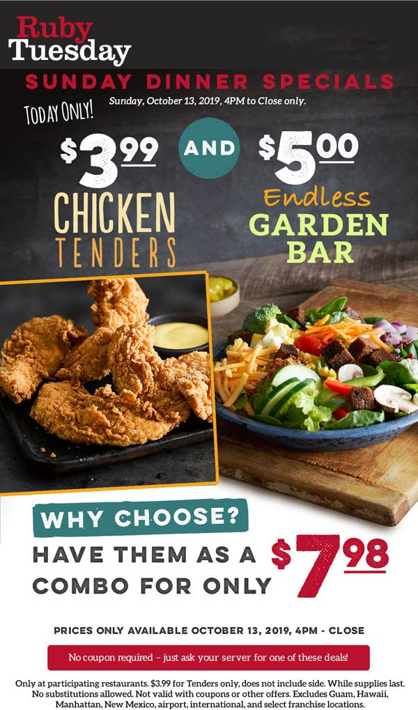 Ruby Tuesday Coupon January 2020 $5 bottomless garden bar today at Ruby Tuesday restaurants