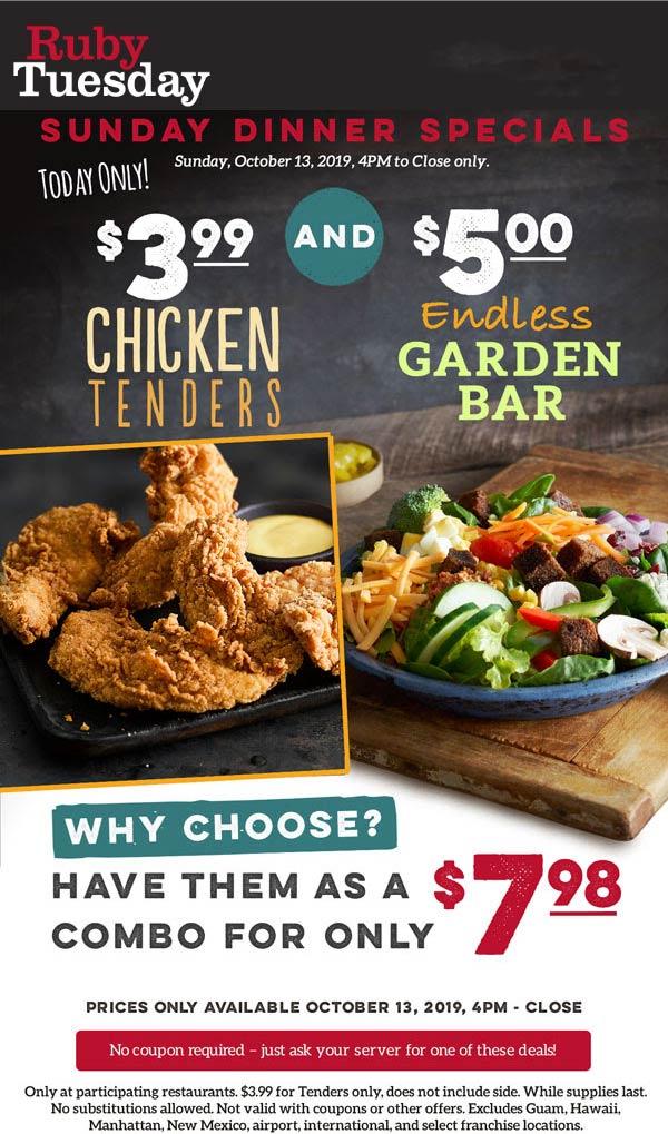 Ruby Tuesday Coupon November 2019 $5 bottomless garden bar today at Ruby Tuesday restaurants