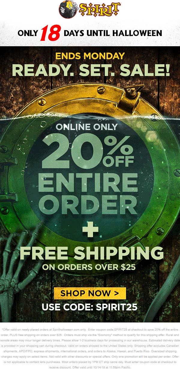 Spirit Halloween Coupon November 2019 20% off online with free ship at Spirit Halloween via promo code SPIRIT25