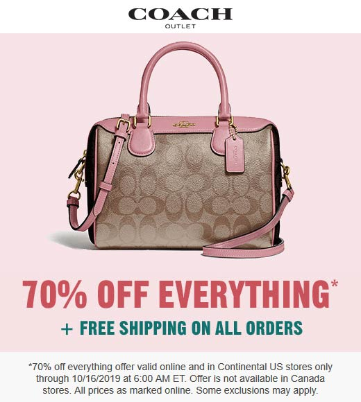 Coach Coupon January 2020 70% off everything today at Coach Outlet, ditto online
