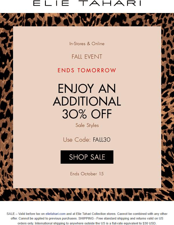Elie Tahari Coupon January 2020 Extra 30% off sale items at Elie Tahari, or online via promo code FALL30