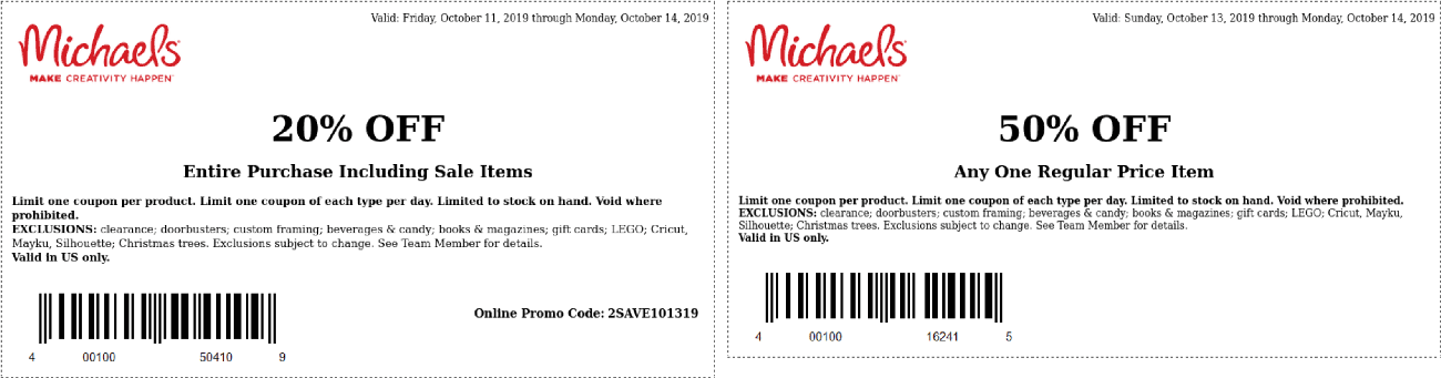 Michaels Coupon January 2020 50% off a single item & more today at Michaels
