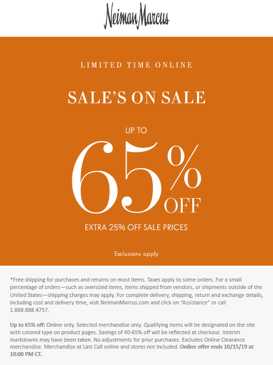 Neiman Marcus Coupon November 2019 Extra 25% off sale items online at Neiman Marcus