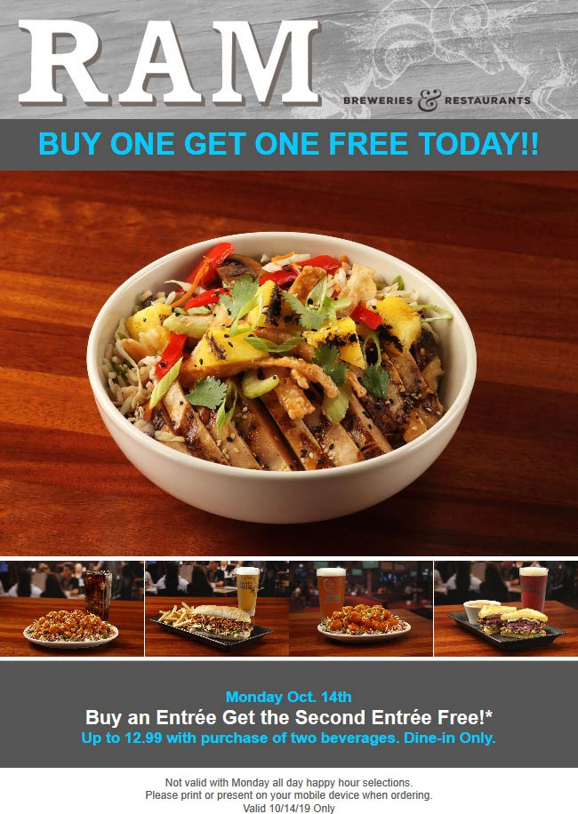 RAM Coupon January 2020 Second entree free today at RAM restaurants