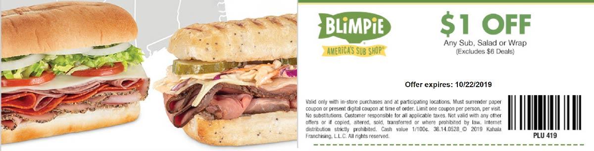 Blimpie Coupon November 2019 $1 off your sub sandwich salad or wrap at Blimpie