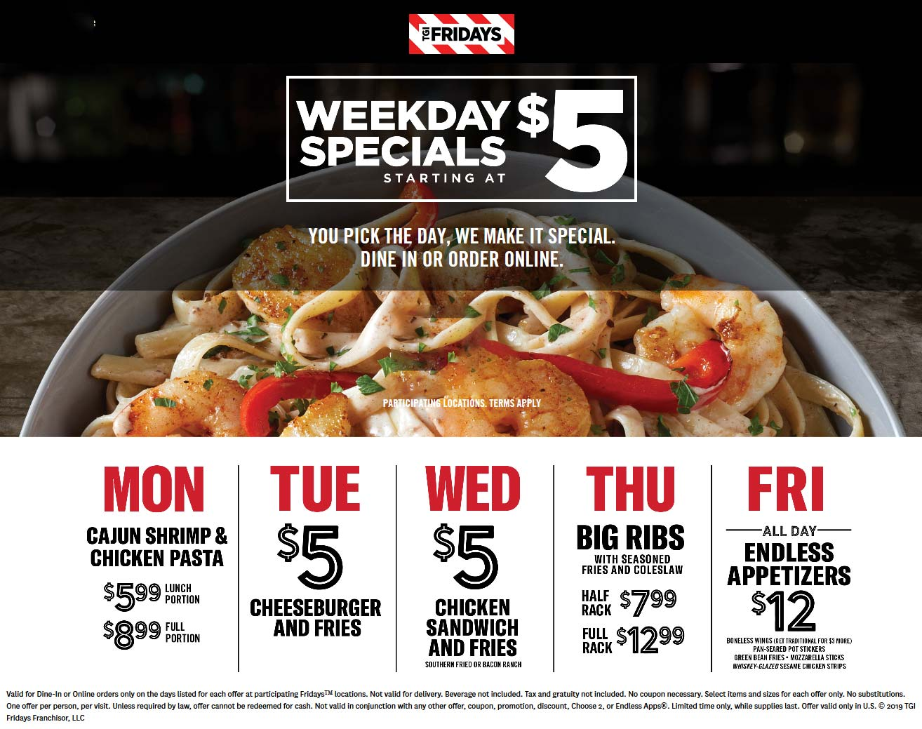 TGI Fridays Coupon January 2020 $5 cheeseburger + fries, chicken sandwich & more weekdays at TGI Fridays