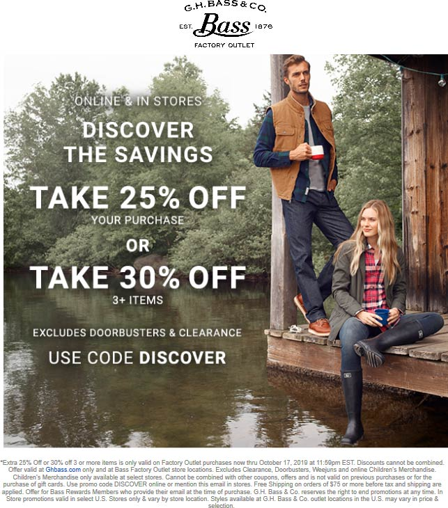 Bass Factory Outlet Coupon November 2019 25-30% off at Bass Factory Outlet, or online via promo code DISCOVER