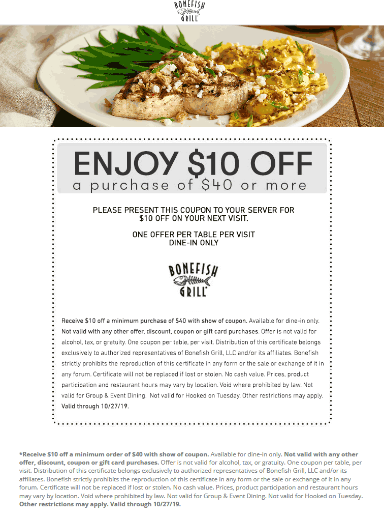 Bonefish Grill Coupon January 2020 $10 off $40 at Bonefish Grill restaurants