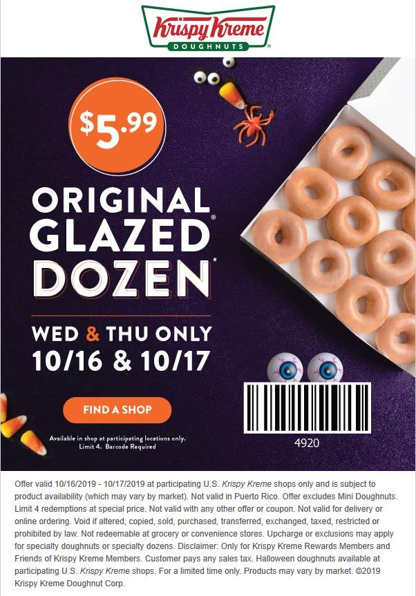 Krispy Kreme Coupon November 2019 $6 dozen at Krispy Kreme doughnuts