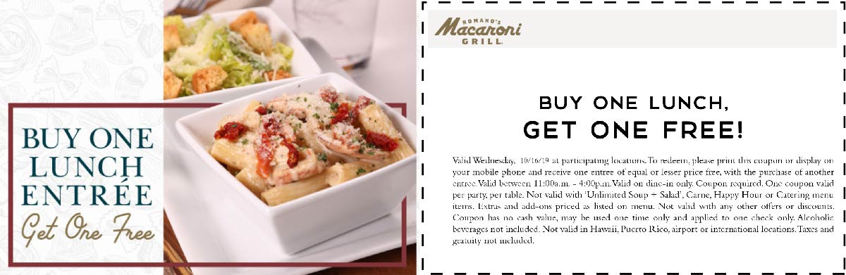 Macaroni Grill Coupon November 2019 Second lunch free today at Macaroni Grill
