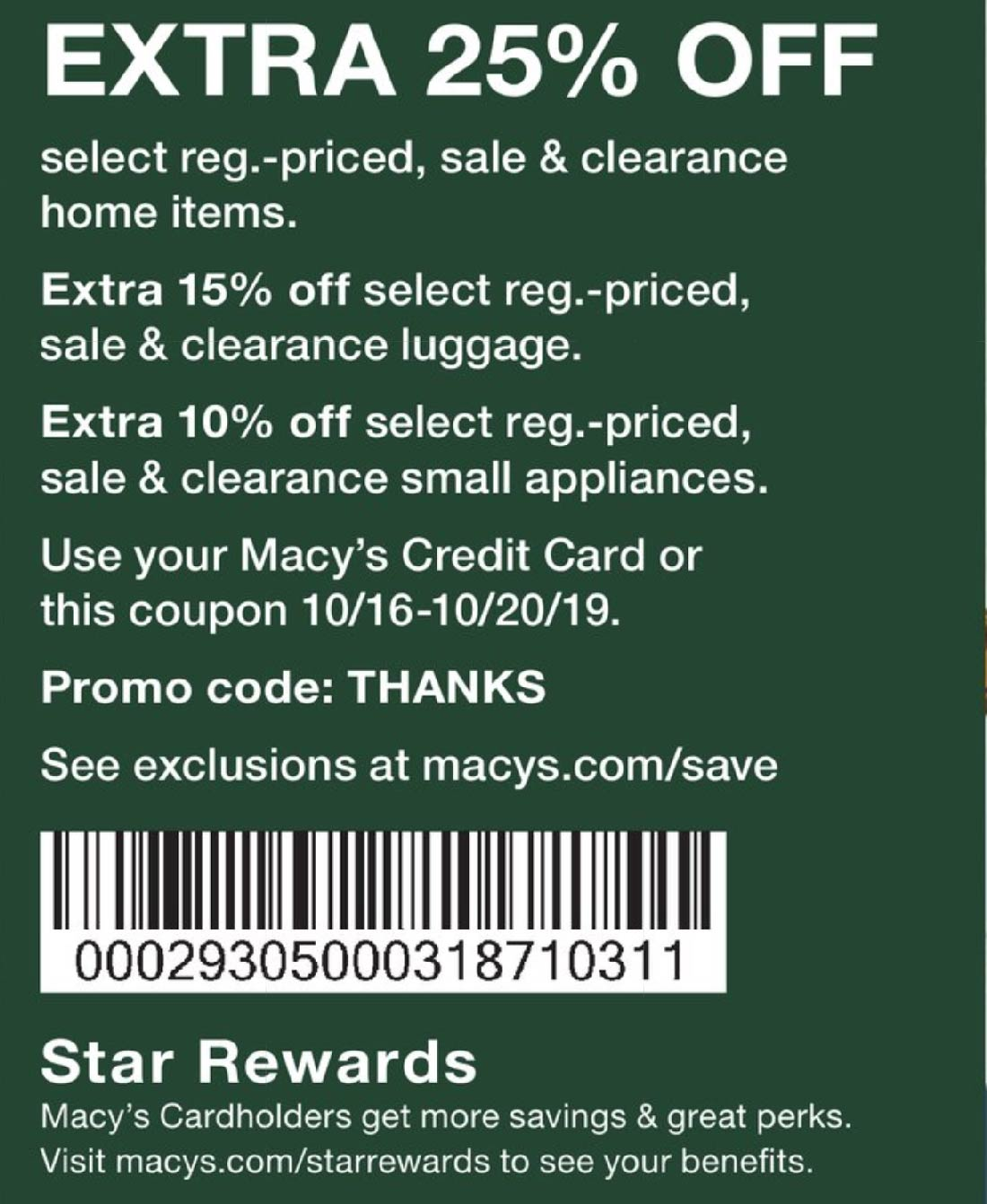 Macys Coupon January 2020 Extra 25% off at Macys, or online via promo code THANKS