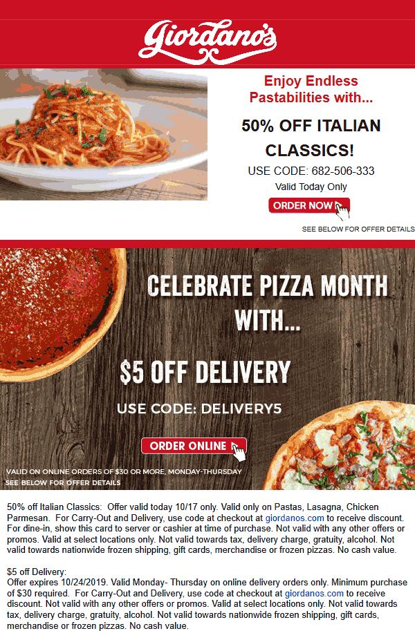 Giordanos Coupon January 2020 50% off pastas today at Giordanos pizza via promo code 682-506-333