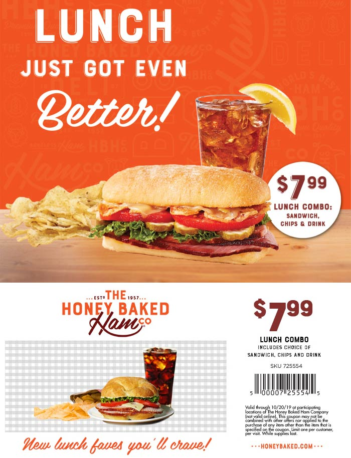 HoneyBaked Coupon November 2019 $8 lunch combo at Honeybaked Ham restaurants