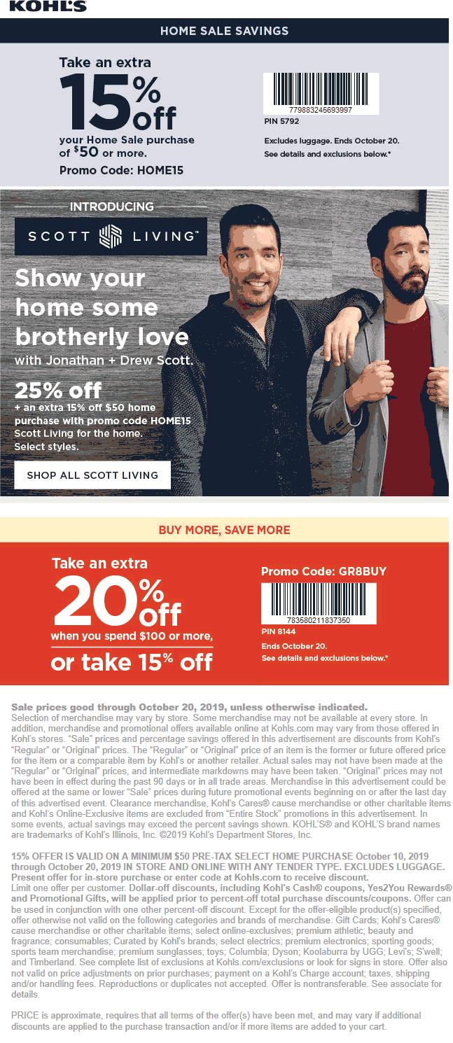 Kohls Coupon November 2019 15-20% at Kohls, or online via promo code GR8BUY