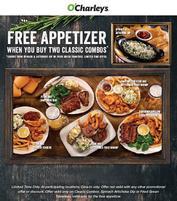 OCharleys Coupon November 2019 Free appetizer with your meals at OCharleys