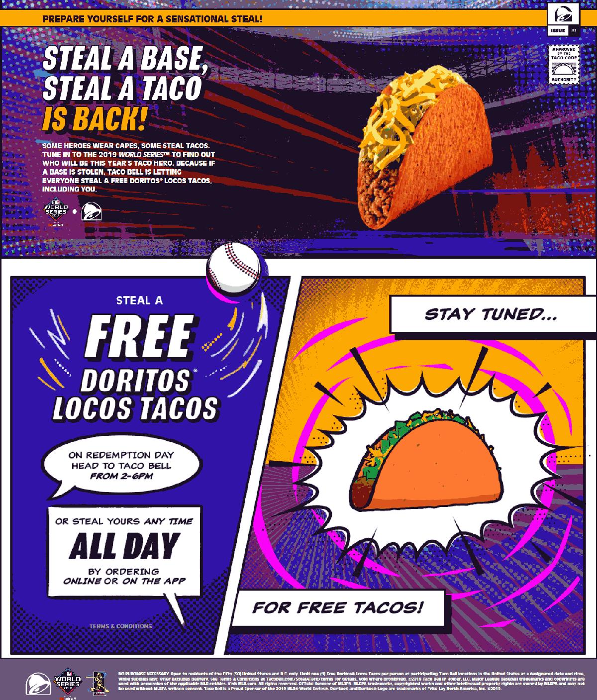 Taco Bell Coupon November 2019 Stolen world series base = free taco at Taco Bell