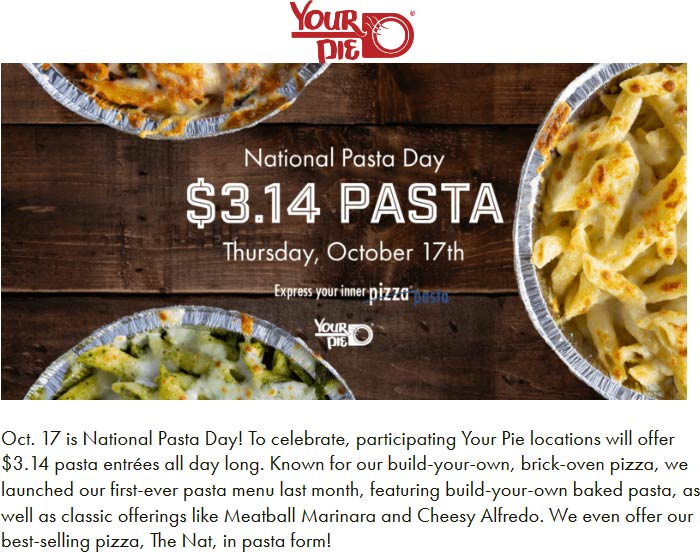 Your Pie Coupon November 2019 $3.14 pasta entrees today at Your Pie