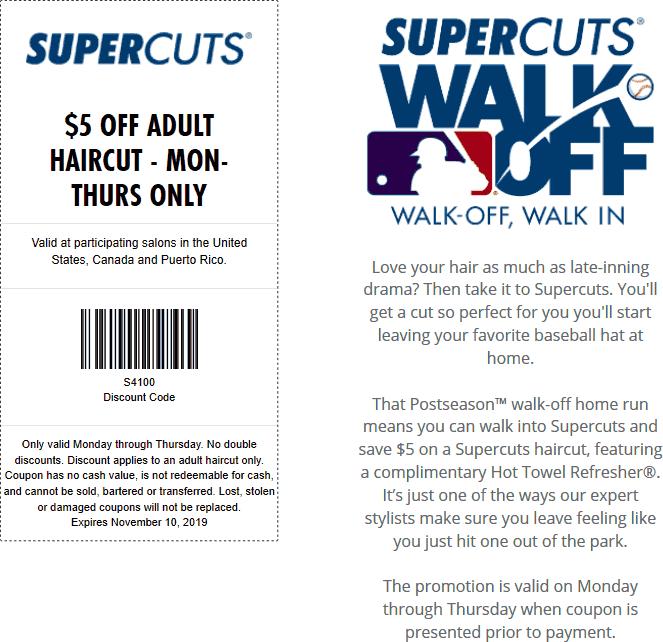 Supercuts Coupon November 2019 $5 off Mon-Thur haircut at Supercuts
